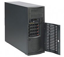 "Case Supermicro CSE-733TQ-668B - Mid-Tower, 668W, 4x3.5'' hot-swap SAS/SATA bay, 2x5.25""+1x3.5"""