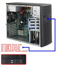 "Case Supermicro CSE-732D4-500B - Mid-Tower, 500W, 4x3.5"" fix HDD SAS/SATA, 4xUSB + 2x Audio Front"